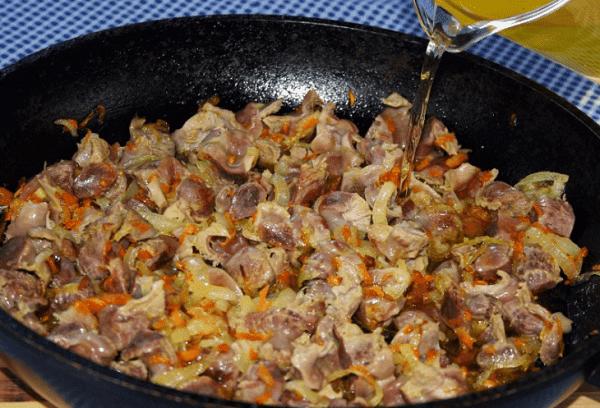 estomacs de poulet frits