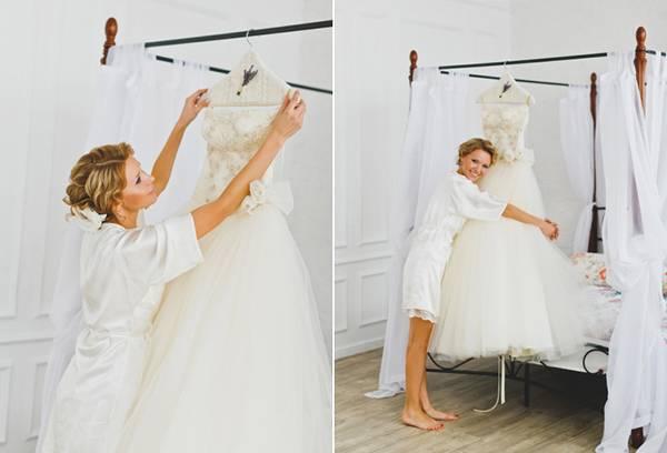 Meisje met haar trouwjurk