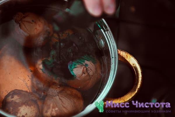 Œufs de cosse d'oignon dans un pot d'oignon vert