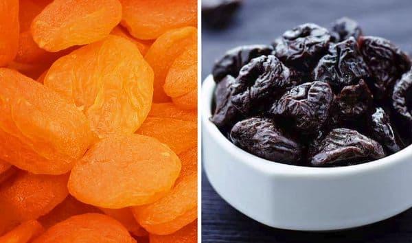 pruneaux et abricots secs