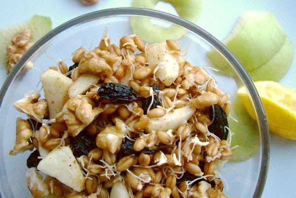Petit déjeuner de pommes, germe de blé, noix et fruits secs