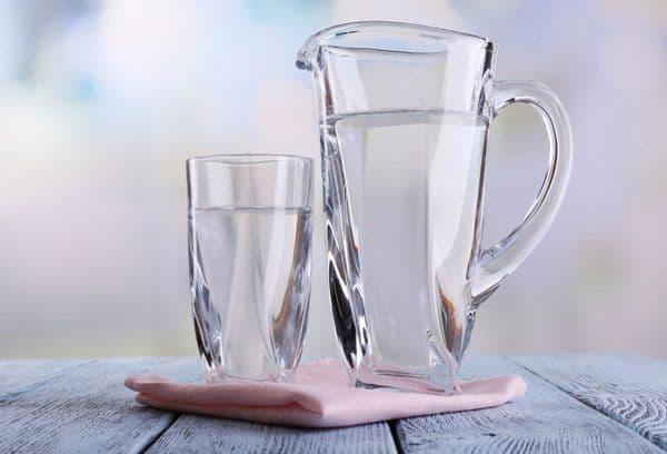Water in een glazen container