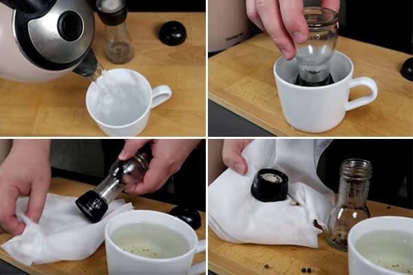 La façon d'ouvrir un moulin à usage unique avec de l'eau bouillante